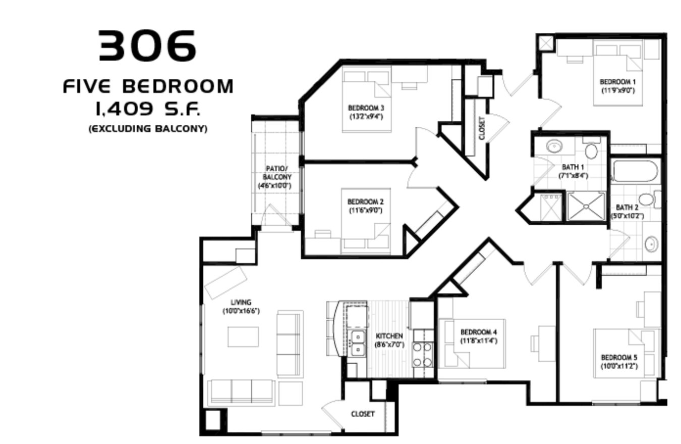 5 Bedrooms 2 Bathrooms Apartment for rent at Grand Central in Madison, WI