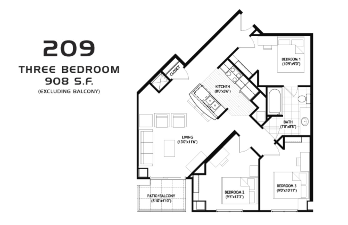 3 Bedrooms 1 Bathroom Apartment for rent at Grand Central in Madison, WI