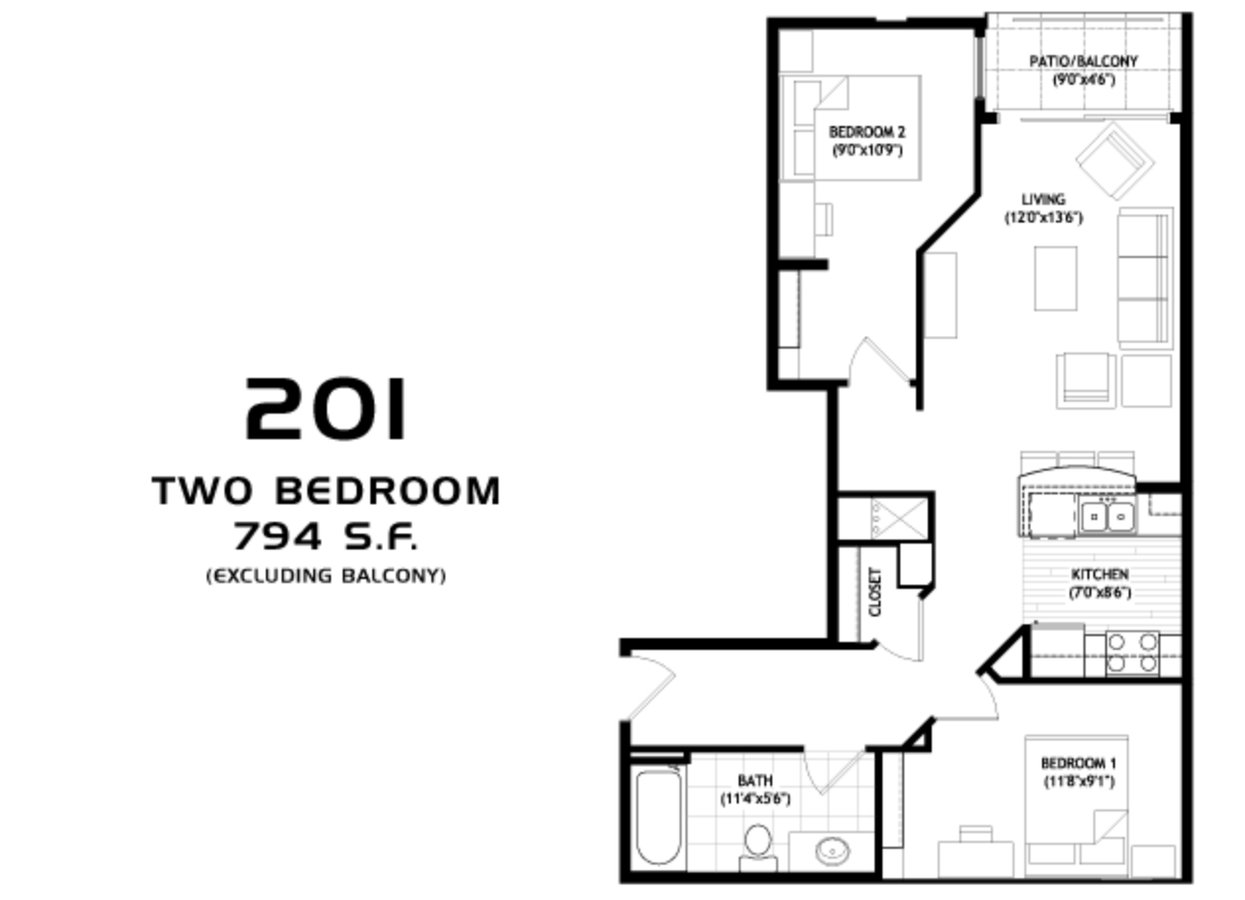 2 Bedrooms 1 Bathroom Apartment for rent at Grand Central in Madison, WI