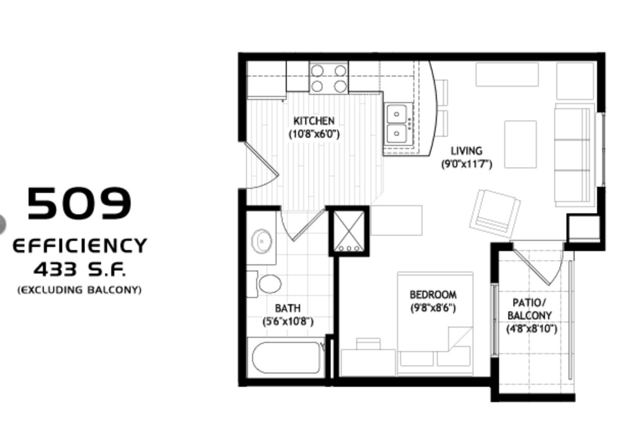 Studio 1 Bathroom Apartment for rent at Grand Central in Madison, WI