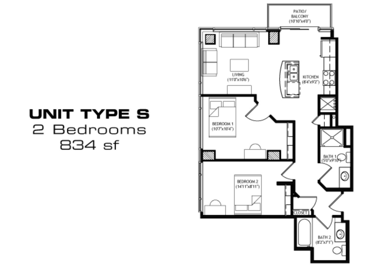 2 Bedrooms 2 Bathrooms Apartment for rent at X01 Apartments in Madison, WI