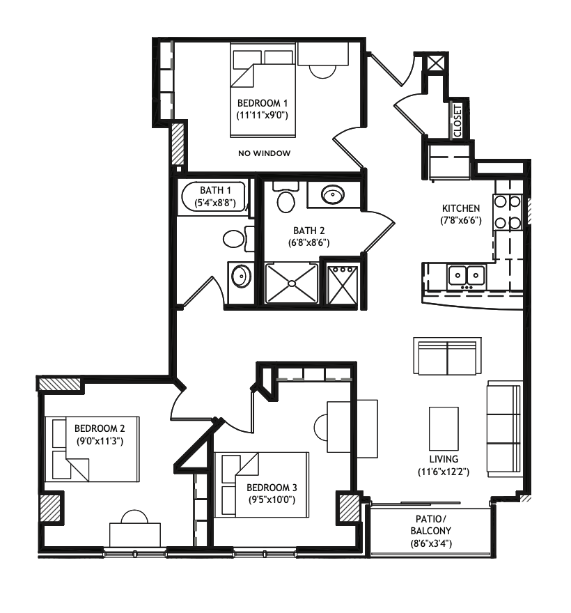 3 Bedrooms 2 Bathrooms Apartment for rent at X01 Apartments in Madison, WI