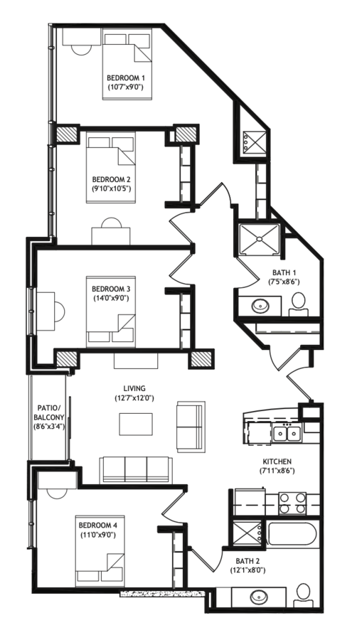 4 Bedrooms 2 Bathrooms Apartment for rent at X01 Apartments in Madison, WI