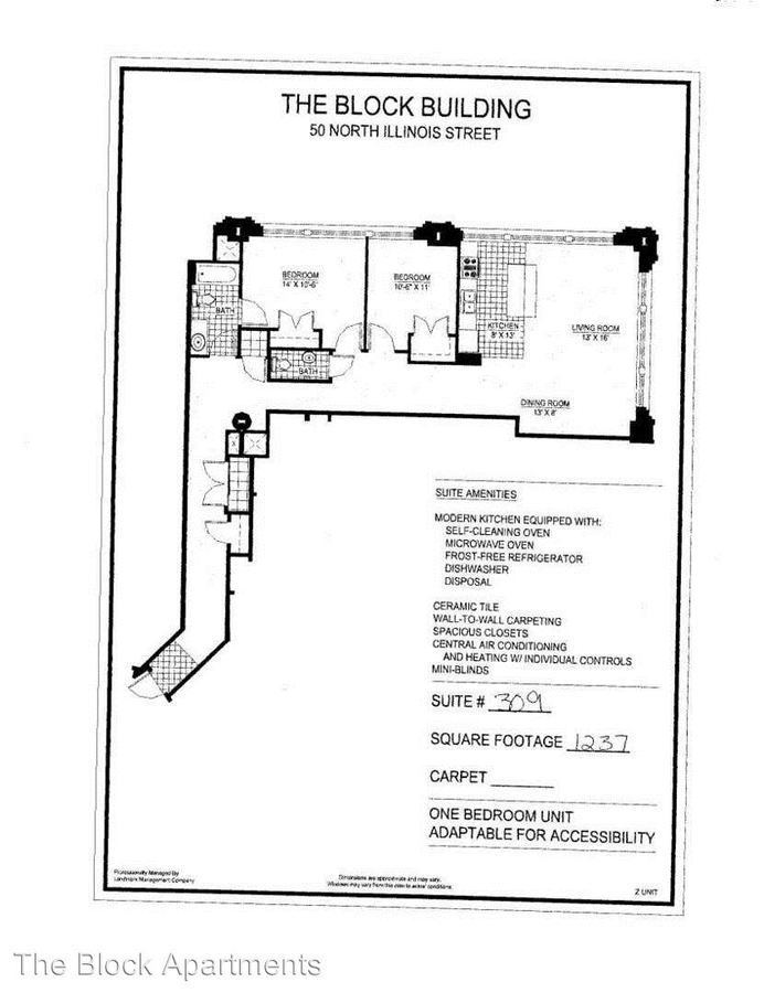 2 Bedrooms 1 Bathroom Apartment for rent at The Block Building 50 North Illinois Ave, Suite A in Indianapolis, IN