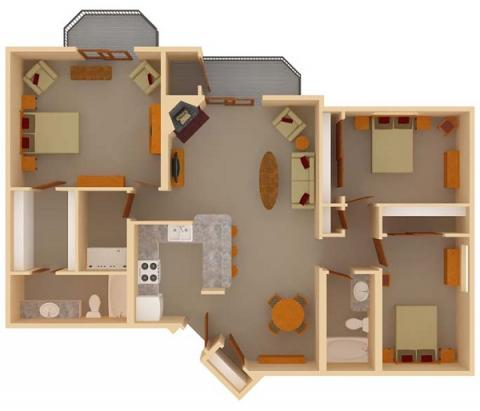 3 Bedrooms 2 Bathrooms Apartment for rent at Ridgewood Trails in Madison, WI