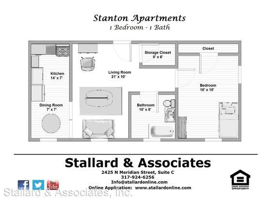 Studio 1 Bathroom Apartment for rent at 3536 Associates, Llc. Stanton 3536 N. Meridian St in Indianapolis, IN