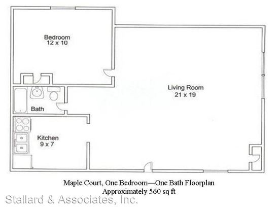 1 Bedroom 1 Bathroom Apartment for rent at Maple Court Assoc., Llc (206) 3424 N. Pennsylvania St. in Indianapolis, IN