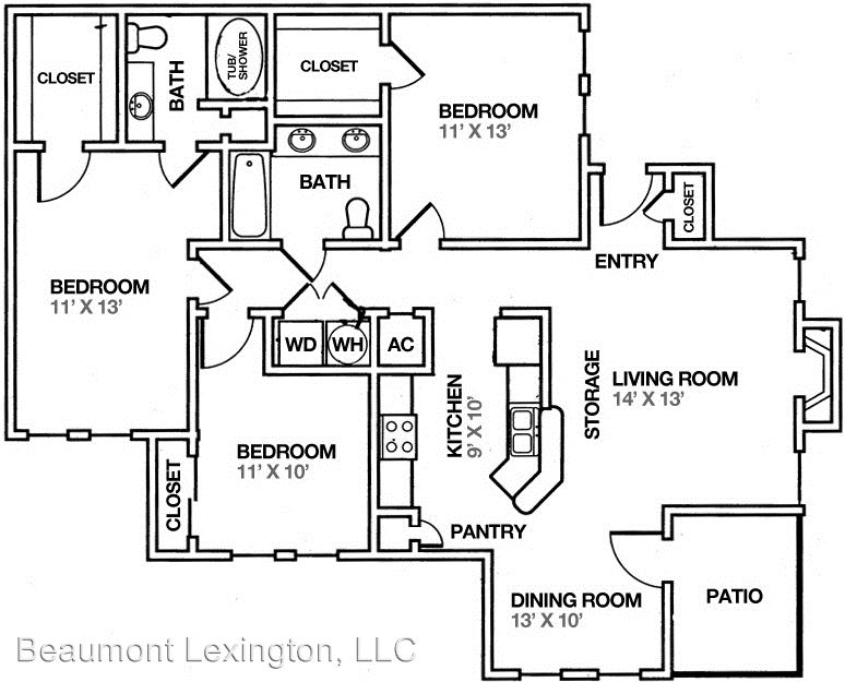 3 Bedrooms 2 Bathrooms Apartment for rent at 1101 Beaumont Centre Lane in Lexington, KY