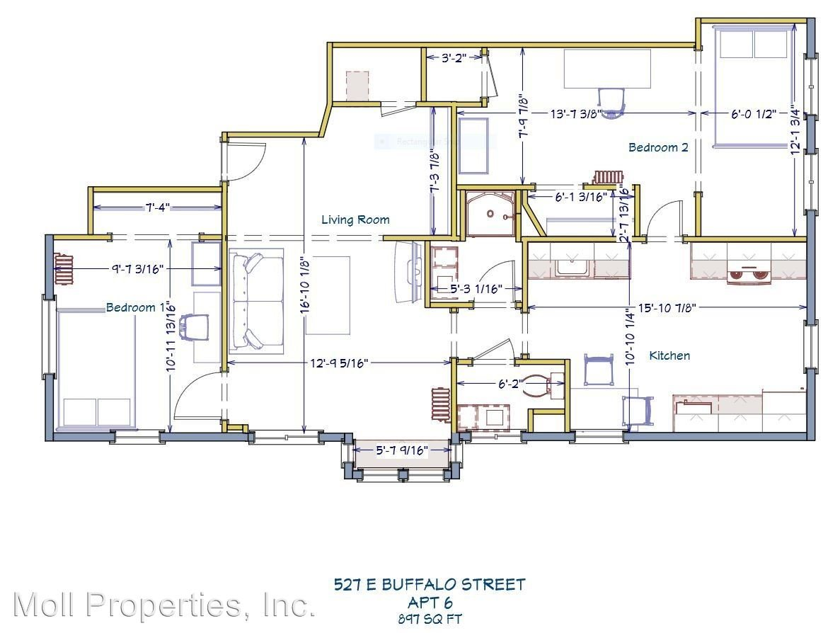2 Bedrooms 1 Bathroom Apartment for rent at 527 E Buffalo Street in Ithaca, NY