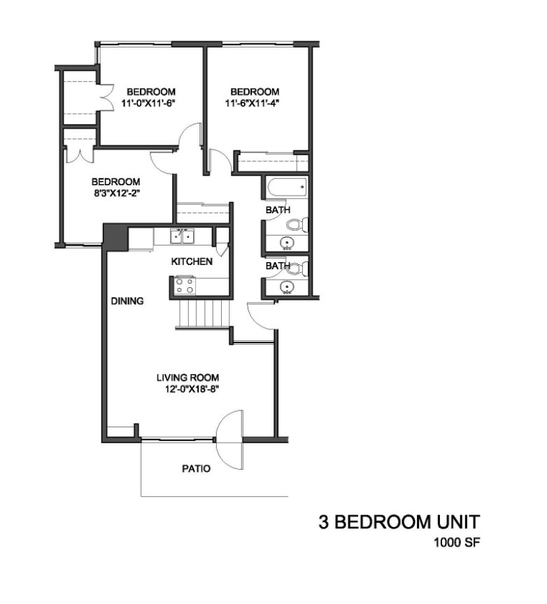 3 Bedrooms 2 Bathrooms Apartment for rent at Wilson Park Garden Town Homes in Milwaukee, WI