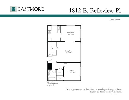 1 Bedroom 1 Bathroom Apartment for rent at 1812 E Belleview Pl in Milwaukee, WI