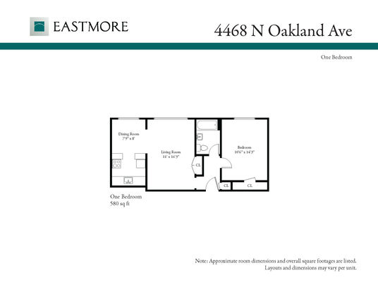 1 Bedroom 1 Bathroom Apartment for rent at 4468 N Oakland Ave in Shorewood, WI