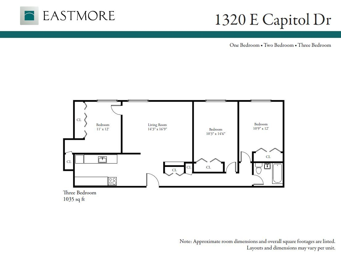 3 Bedrooms 1 Bathroom Apartment for rent at 1320 E. Capitol Drive in Shorewood, WI