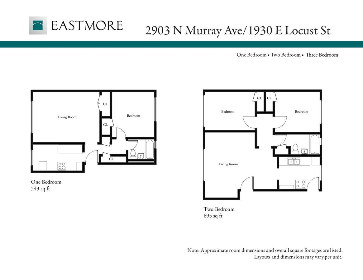 2 Bedrooms 1 Bathroom Apartment for rent at Eastmore 2903 N. Murray in Milwaukee, WI