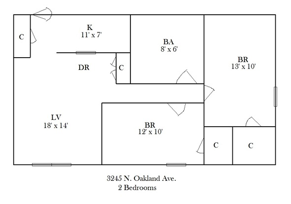 2 Bedrooms 1 Bathroom Apartment for rent at 3245 N Oakland in Milwaukee, WI