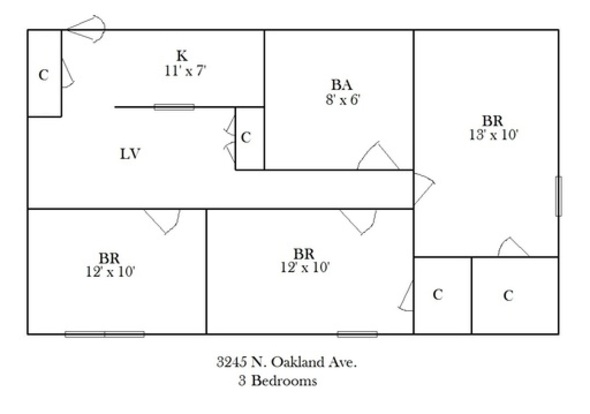 3 Bedrooms 1 Bathroom Apartment for rent at 3245 N Oakland in Milwaukee, WI