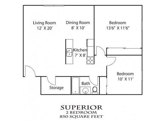 2 Bedrooms 1 Bathroom Apartment for rent at Huron Place in Minneapolis, MN