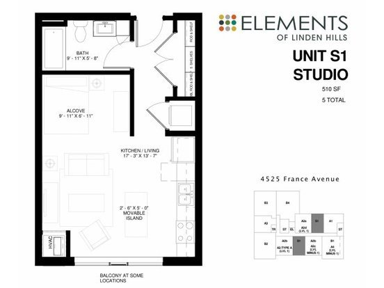 Studio 1 Bathroom Apartment for rent at Elements Of Linden Hills in Minneapolis, MN