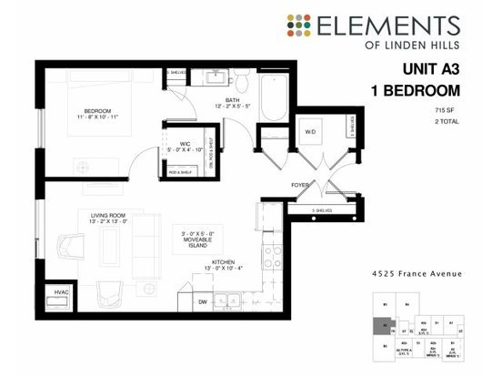 1 Bedroom 1 Bathroom Apartment for rent at Elements Of Linden Hills in Minneapolis, MN