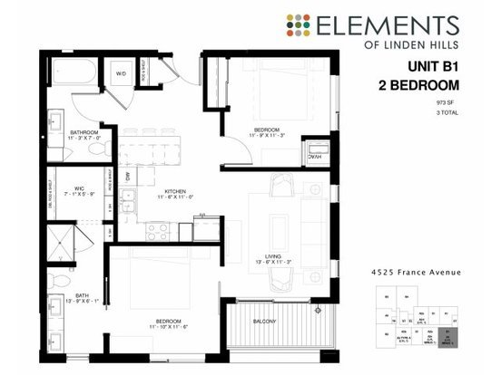 2 Bedrooms 2 Bathrooms Apartment for rent at Elements Of Linden Hills in Minneapolis, MN