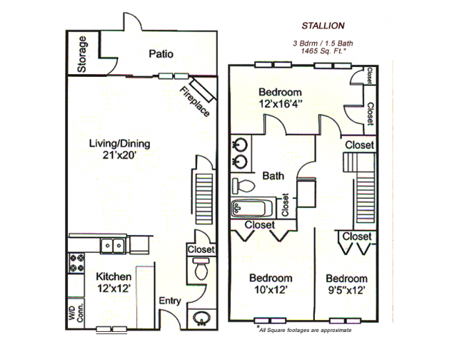 3 Bedrooms 2 Bathrooms Apartment for rent at Park City Townhomes in Arlington, TX