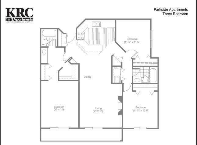 3 Bedrooms 1 Bathroom Apartment for rent at Parkside Apartments in Coon Rapids, MN