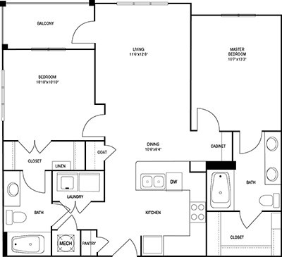 2 Bedrooms 2 Bathrooms Apartment for rent at Post Parkside At Wade in Raleigh, NC