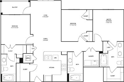 3 Bedrooms 3 Bathrooms Apartment for rent at Post Parkside At Wade in Raleigh, NC