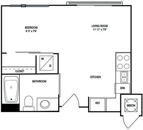 Studio 1 Bathroom Apartment for rent at Post South Lamar in Austin, TX