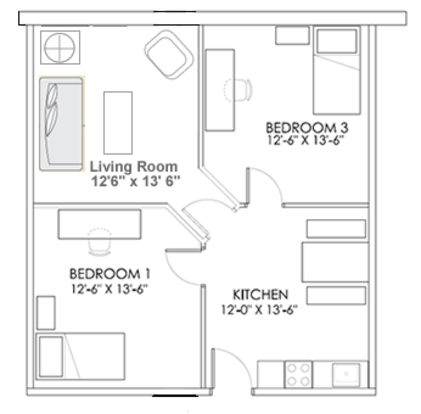 2 Bedrooms 1 Bathroom Apartment for rent at Penn Commons Student Housing in Pittsburgh, PA