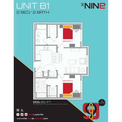 2 Bedrooms 2 Bathrooms Apartment for rent at The Nine in Louisville, KY