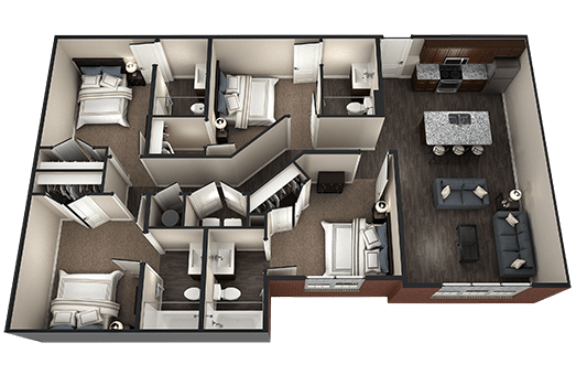 4 Bedrooms 4+ Bathrooms Apartment for rent at Brookside Downtown in Columbia, MO
