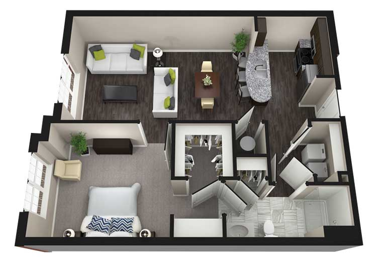 1 Bedroom 1 Bathroom Apartment for rent at Aria Luxury Apartments in Columbia, MO