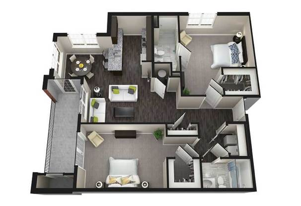 2 Bedrooms 2 Bathrooms Apartment for rent at Aria Luxury Apartments in Columbia, MO