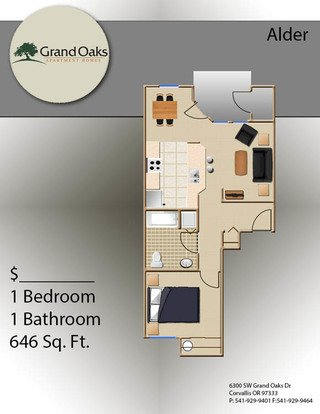 1 Bedroom 1 Bathroom Apartment for rent at Grand Oaks in Corvallis, OR