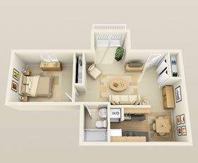 1 Bedroom 1 Bathroom Apartment for rent at River Bend Apartments in Madison, WI