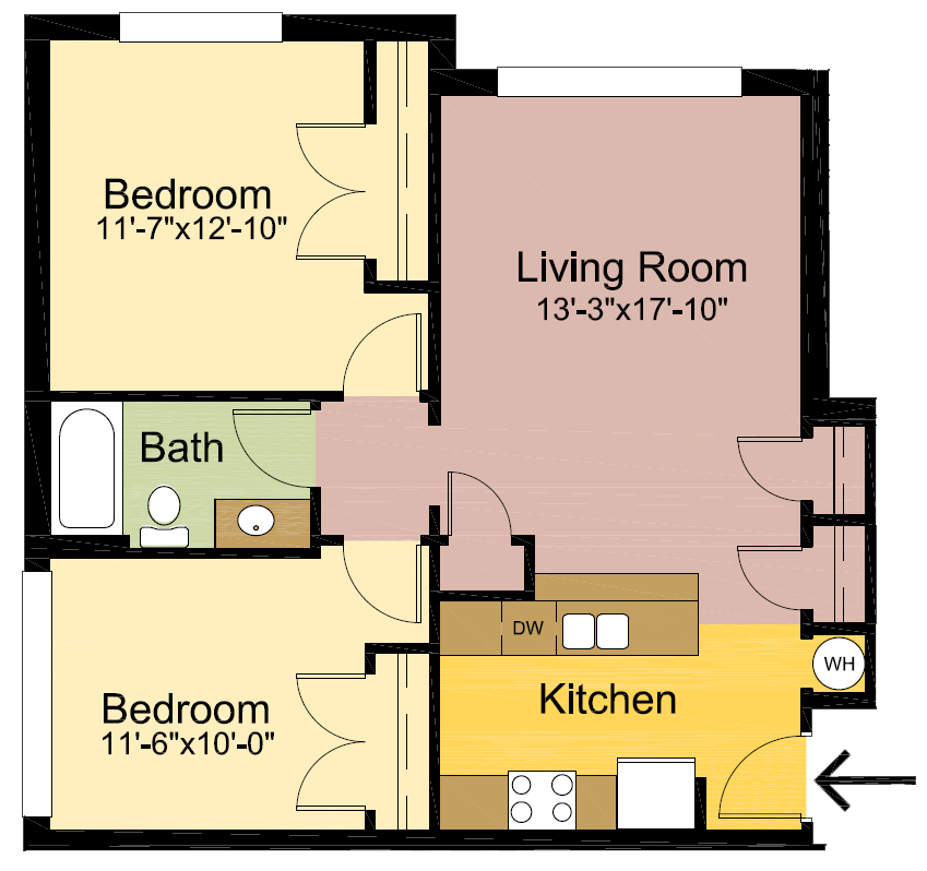 2 Bedrooms 1 Bathroom Apartment for rent at The Quad in Louisville, KY