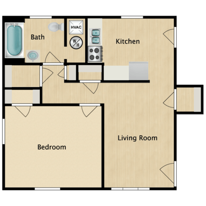 1 Bedroom 1 Bathroom Apartment for rent at The District in St Louis, MO