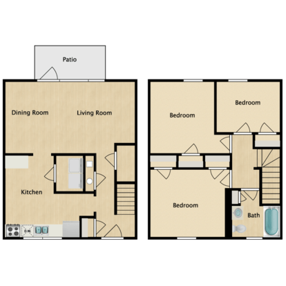3 Bedrooms 1 Bathroom Apartment for rent at The District in St Louis, MO