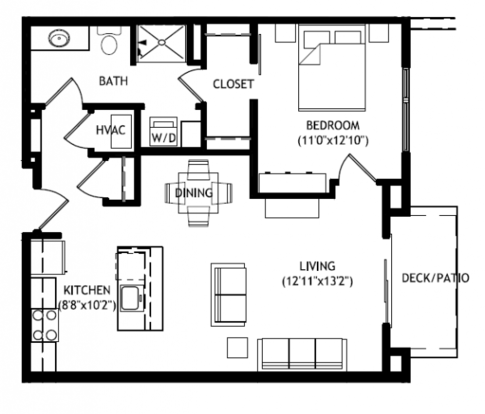 1 Bedroom 1 Bathroom Apartment for rent at RIVA Apartments in Fitchburg, WI