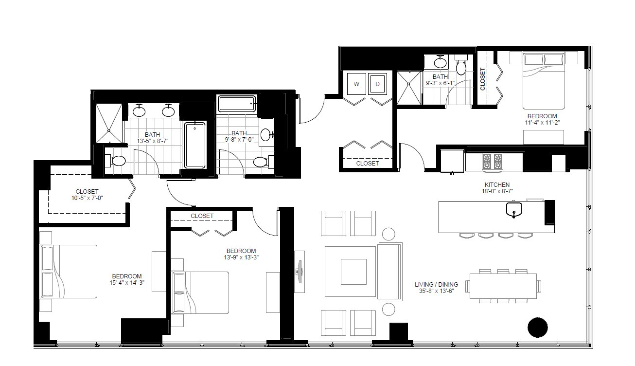 3 Bedrooms 3 Bathrooms Apartment for rent at Marquee At Block 37 in Chicago, IL