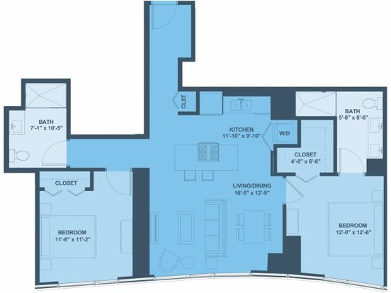 2 Bedrooms 2 Bathrooms Apartment for rent at 1001 South State Street in Chicago, IL