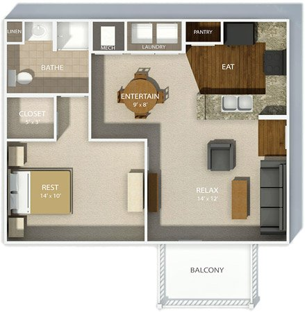 1 Bedroom 1 Bathroom Apartment for rent at Andover Park in Columbus, OH