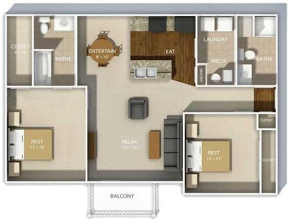 2 Bedrooms 2 Bathrooms Apartment for rent at Andover Park in Columbus, OH