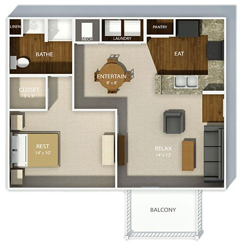 1 Bedroom 1 Bathroom Apartment for rent at Clifton Park in Columbus, OH
