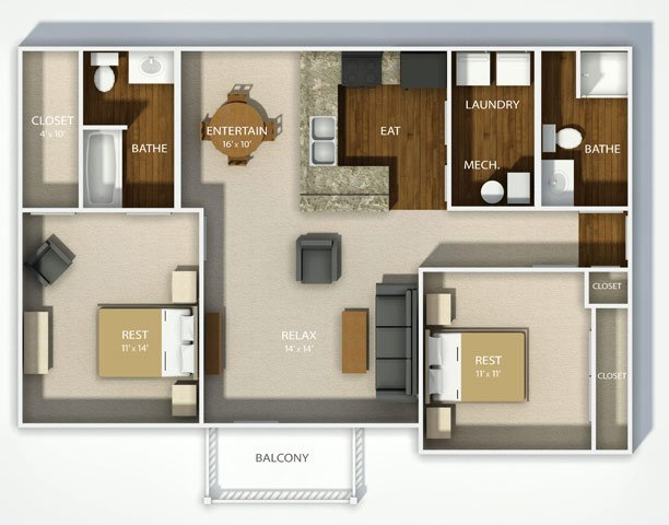 2 Bedrooms 2 Bathrooms Apartment for rent at Madison Park in Columbus, OH