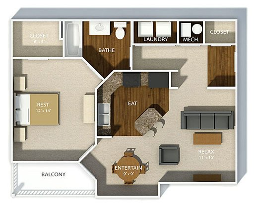 1 Bedroom 1 Bathroom Apartment for rent at Chelsea Square in Columbus, OH