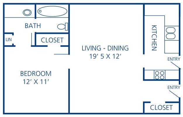 1 Bedroom 1 Bathroom Apartment for rent at Rosecrest Apartments in Memphis, TN