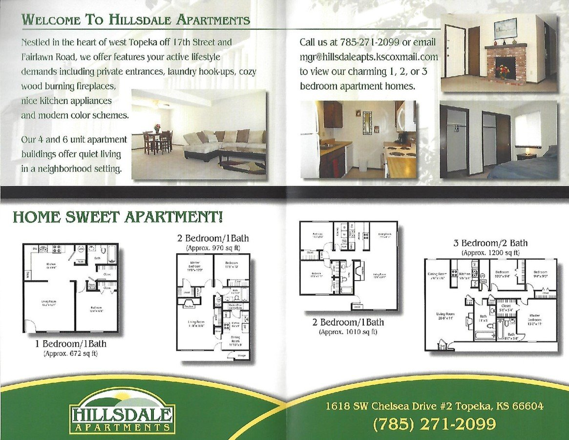 2 Bedrooms 1 Bathroom Apartment for rent at Hillsdale Apartments in Topeka, KS