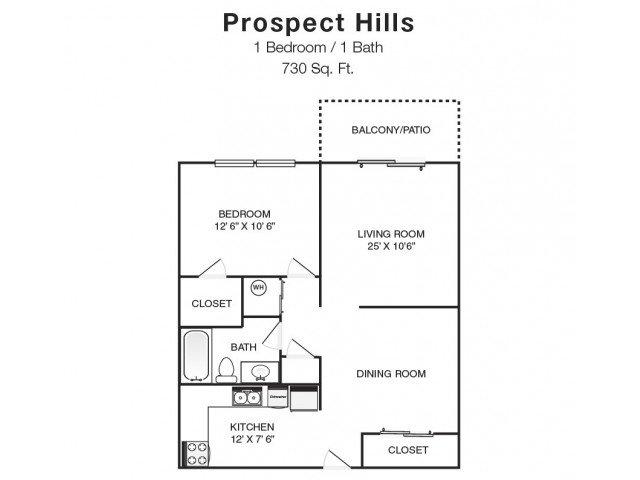1 Bedroom 1 Bathroom Apartment for rent at Prospect Hills in Topeka, KS